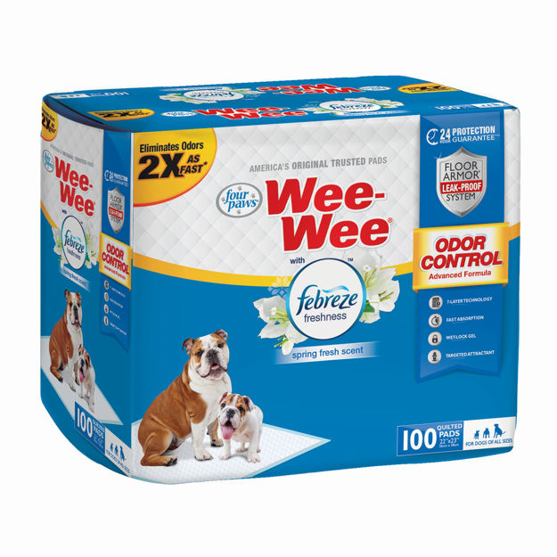 "Picture of Four Paws Wee-Wee Odor Control with Febreze Freshness Pads 100 count White 22"" x 23"" x 0.1"""