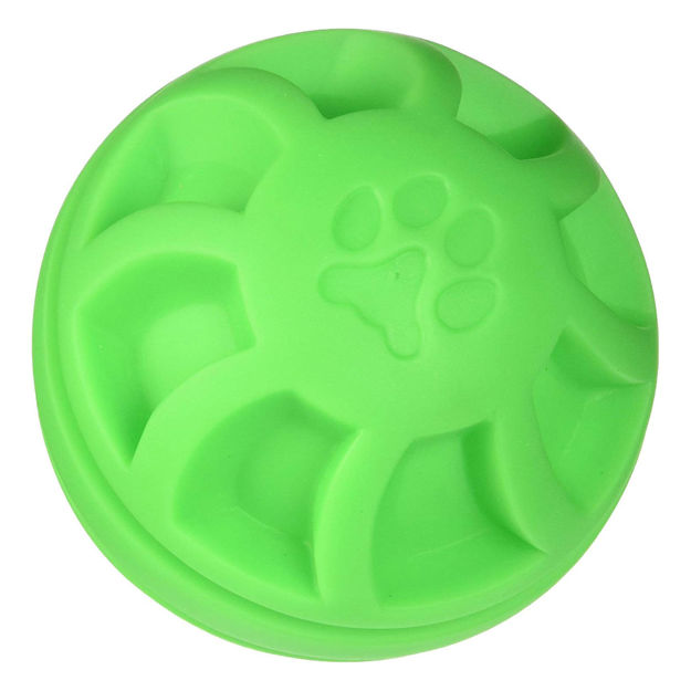 "Picture of Hueter Toledo Soft Flex Swirel Ball Dog Toy Green 4"" x 4"" x 4"""