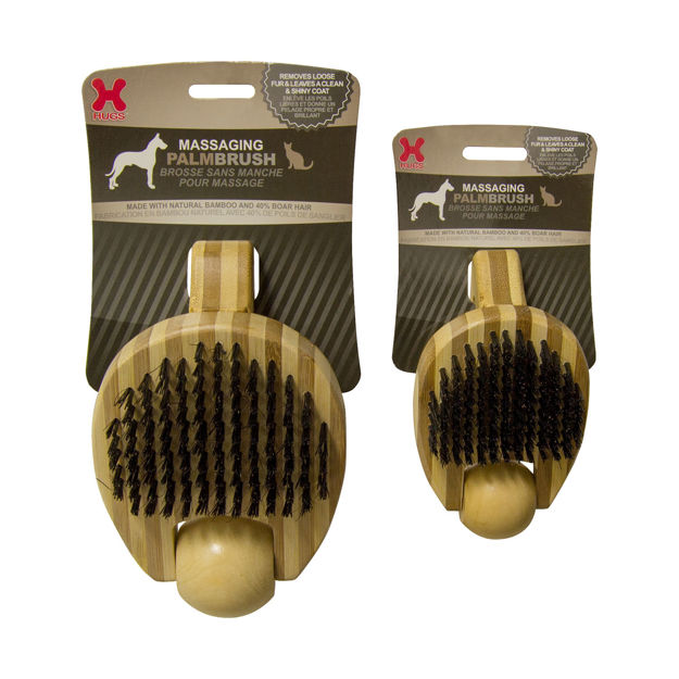 """Picture of Hugs Pet Products Massaging Pet Palm Brush Small Brown 5.75"""" x 3"""" x 2.25"""""""
