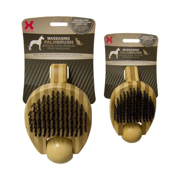 "Hugs Pet Products Massaging Pet Palm Brush Large Brown 6.5"" x 4"" x 3"""