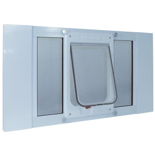 "Ideal Pet Products Aluminum Sash ChubbyKat Flap Pet Door Medium White 1.25"" x 23"" x 10.75"""