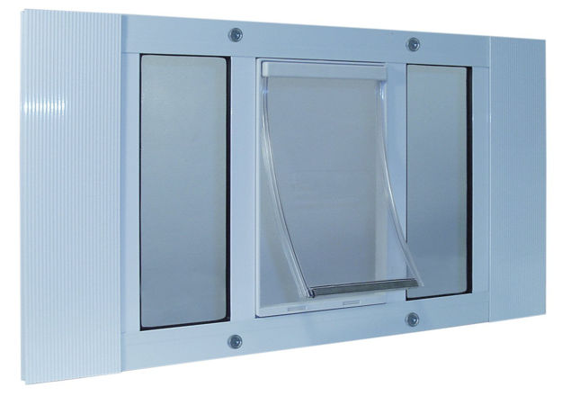 """Picture of Ideal Pet Products Aluminum Sash Cat Flap Pet Door Small White 1.25"""" x 27"""" x 10.63"""""""