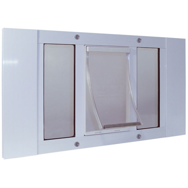 """Picture of Ideal Pet Products Aluminum Sash Pet Door Small White 1.75"""" x 27"""" x 12.56"""""""