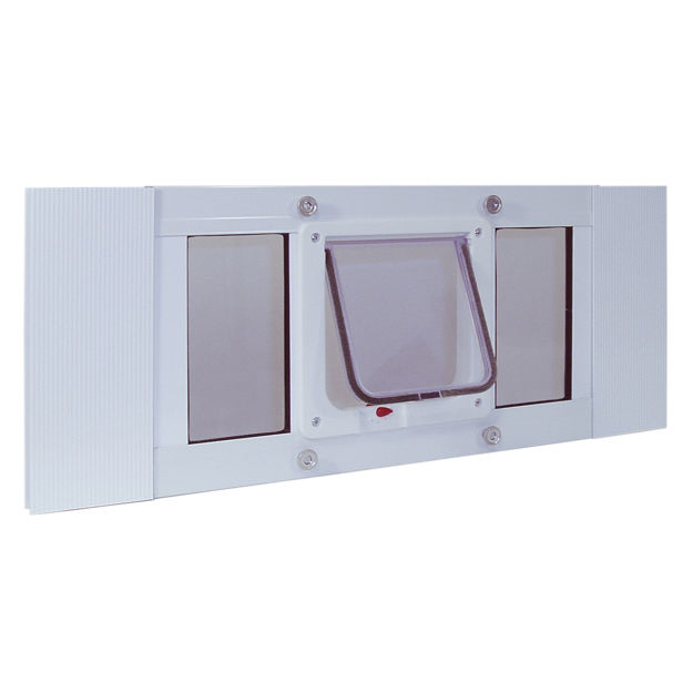 """Picture of Ideal Pet Products Aluminum Sash Cat Flap Pet Door Small White 1.25"""" x 33"""" x 10.63"""""""