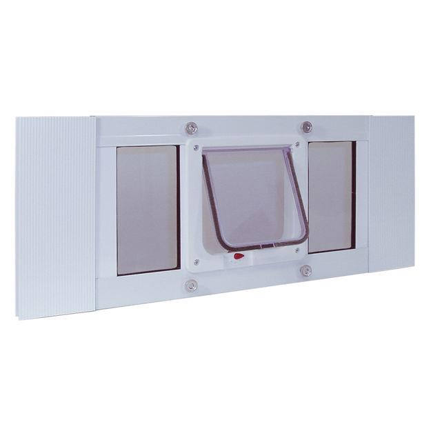 "Ideal Pet Products Aluminum Sash Cat Flap Pet Door Small White 1.25"" x 33"" x 10.63"""
