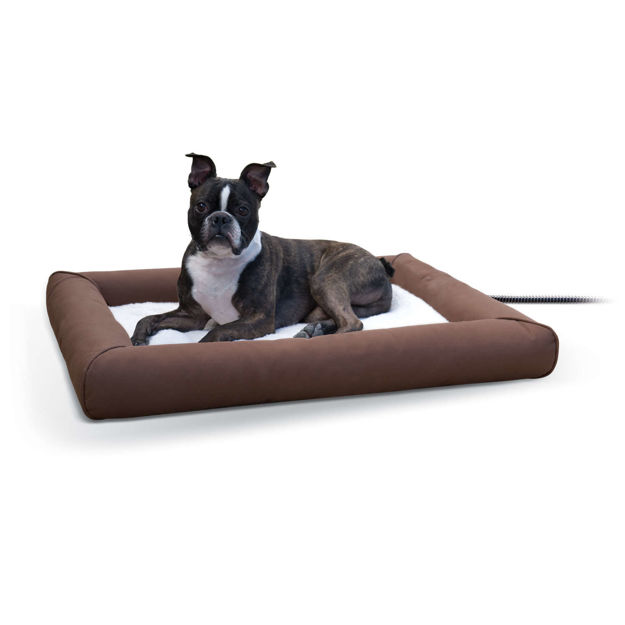 "Picture of K&H Pet Products Deluxe Lectro-Soft Outdoor Heated Pet Bed Medium Brown 26.5"" x 30.5"" x 3.5"""