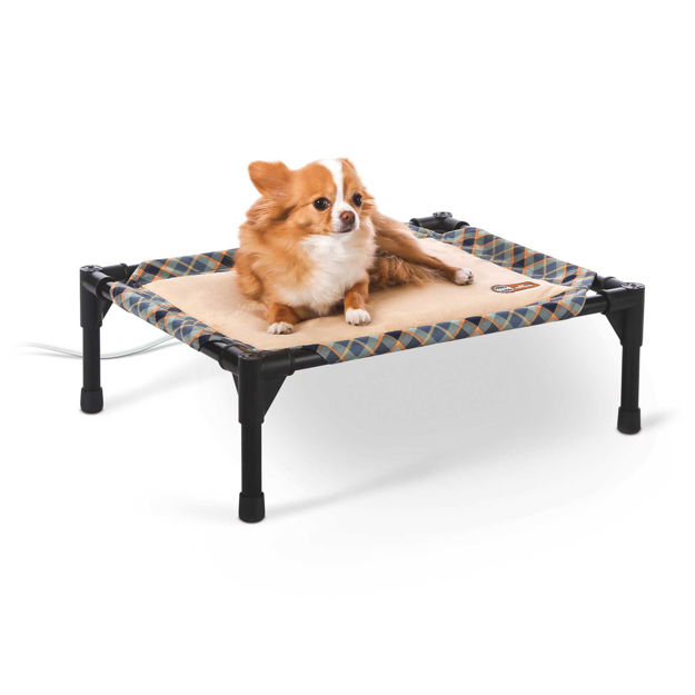 "Picture of K&H Pet Products Thermo-Pet Cot Small Tan / Plaid 17"" x 22"" x 7"""