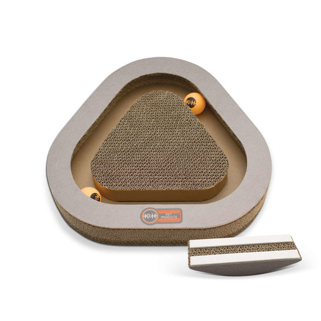 """K&H Pet Products Kitty Tippy Triangle Cardboard Toy Brown 14.5"""" x 14"""" x 2"""""""