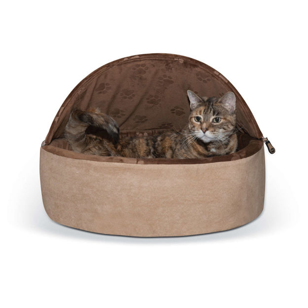 """K&H Pet Products Self-Warming Kitty Bed Hooded Large Chocolate/Tan 20"""" x 20"""" x 12.5"""""""