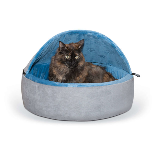 """Picture of K&H Pet Products Self-Warming Kitty Bed Hooded Large Blue/Gray 20"""" x 20"""" x 12.5"""""""