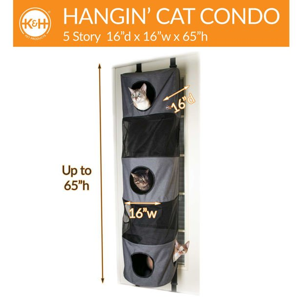 "Picture of K&H Pet Products Hangin' Cat Condo 5 Story High Rise Gray 16"" x 16"" x 65"""