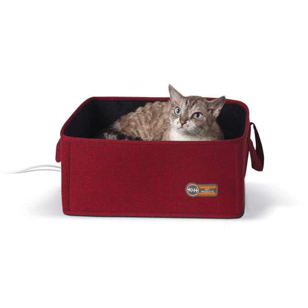 """K&H Pet Products Thermo-Basket Pet Bed Red 15"""" x 15"""" x 6"""""""