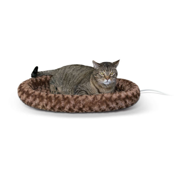 "Picture of K&H Pet Products Thermo-Kitty Fashion Splash Bed Large Mocha 16"" x 22"" x 2"""