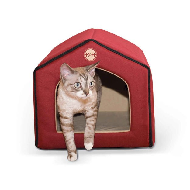 "Picture of K&H Pet Products Unheated Indoor Pet House Red / Tan 16"" x 15"" x 14"""