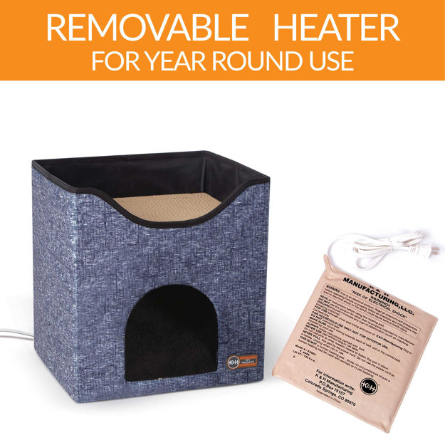 "K&H Pet Products Thermo-Kitty Playhouse Navy Blue 14"" x 12"" x 15"""
