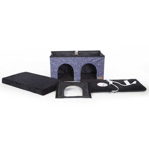 """K&H Pet Products Thermo-Kitty Duplex Navy Blue 12"""" x 24"""" x 12"""""""
