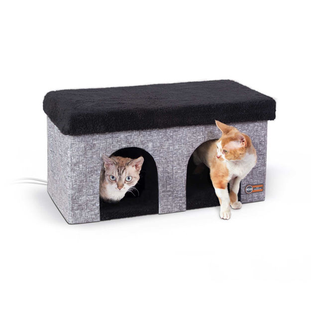 "K&H Pet Products Thermo-Kitty Duplex Gray 12"" x 24"" x 12"""