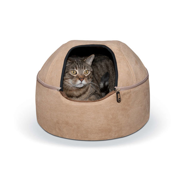 """Picture of K&H Pet Products Kitty Dome Bed Unheated Small Tan 16"""" x 16"""" x 12"""""""