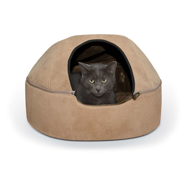 """Picture of K&H Pet Products Kitty Dome Bed Unheated Large Tan 20"""" x 20"""" x 13.50"""""""