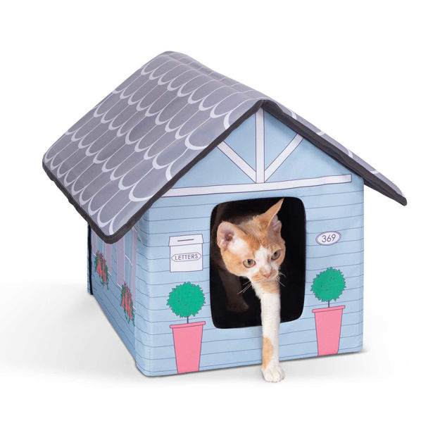 """Picture of K&H Pet Products Outdoor Kitty House Cat Shelter (Unheated) Cottage Design Blue 18"""" x 22"""" x 17"""""""