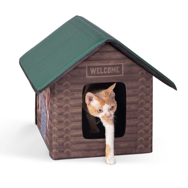 """K&H Pet Products Outdoor Kitty House Cat Shelter (Unheated) Log Cabin Design Brown 18"""" x 22"""" x 17"""""""