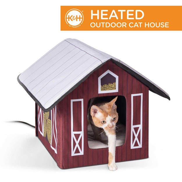 """K&H Pet Products Outdoor Heated Kitty House Cat Shelter Barn Design Red 18"""" x 22"""" x 17"""""""