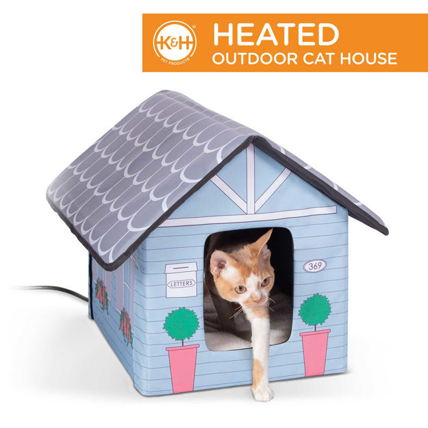 """Picture of K&H Pet Products Outdoor Heated Kitty House Cat Shelter Cottage Design Blue 18"""" x 22"""" x 17"""""""