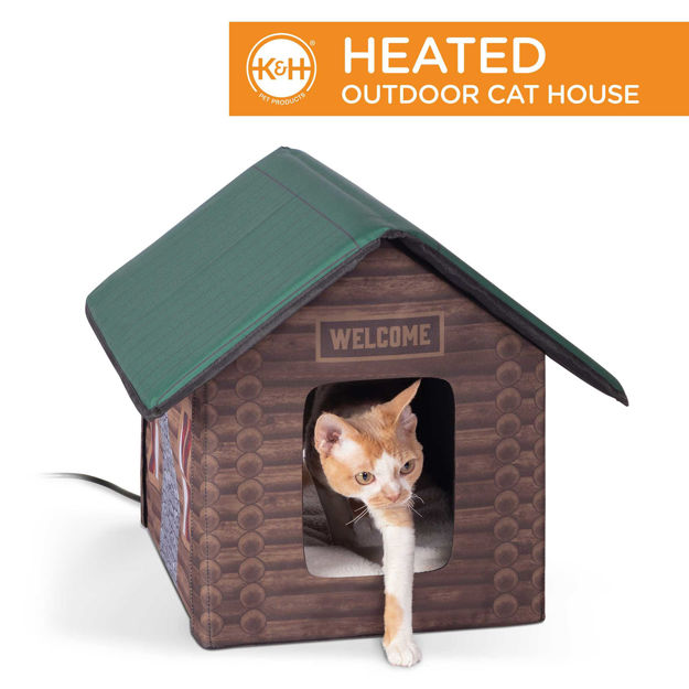 """Picture of K&H Pet Products Outdoor Heated Kitty House Cat Shelter Log Cabin Design Brown 18"""" x 22"""" x 17"""""""