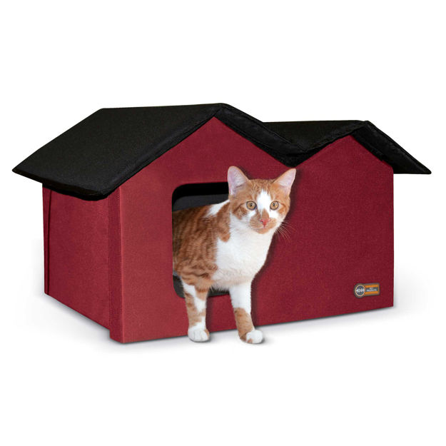 """Picture of K&H Pet Products Outdoor Kitty House Extra-Wide Unheated Red 21.5"""" x 14"""" x 13"""""""