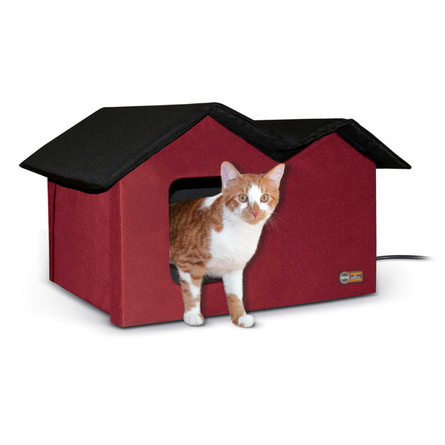 """K&H Pet Products Outdoor Kitty House Extra-Wide Heated Red 21.5"""" x 14"""" x 13"""""""