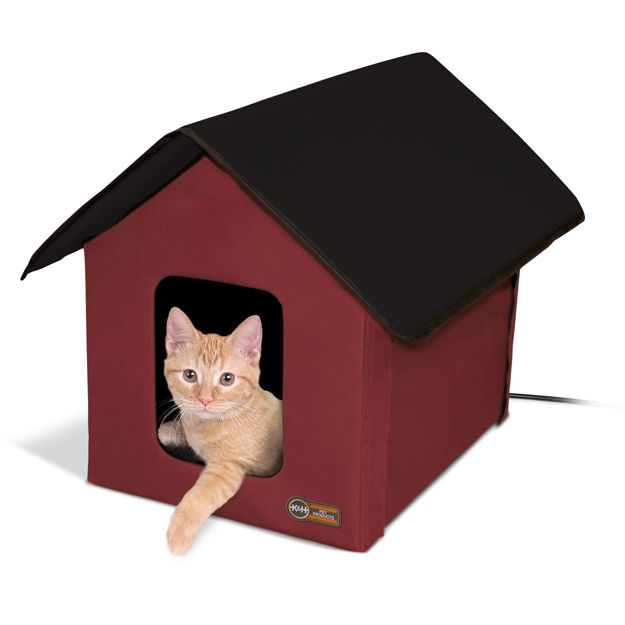 """Picture of K&H Pet Products Outdoor Heated Kitty House Barn Red / Black 22"""" x 18"""" x 17"""""""