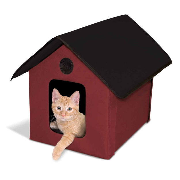 "Picture of K&H Pet Products Unheated Outdoor Kitty House Red / Black 22"" x 18"" x 17"""