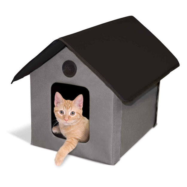 """K&H Pet Products Unheated Outdoor Kitty House Gray / Black 22"""" x 18"""" x 17"""""""