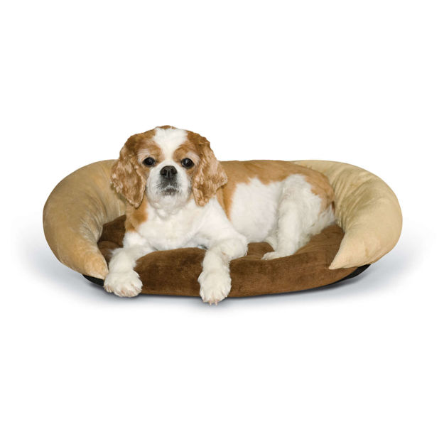 "Picture of K&H Pet Products Self-Warming Bolster Bed Chocolate/Tan 14"" x 17"" x 5"""