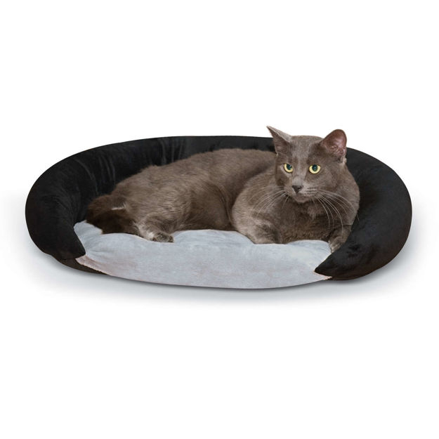 """Picture of K&H Pet Products Self-Warming Bolster Bed Gray/Black 14"""" x 17"""" x 5"""""""