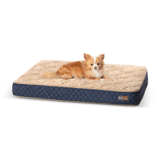 "K&H Pet Products Quilt-Top Superior Orthopedic Pet Bed Small Navy Blue 27"" x 36"" x 4"""