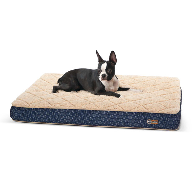 """Picture of K&H Pet Products Quilt-Top Superior Orthopedic Pet Bed Medium Navy Blue 30"""" x 40"""" x 4"""""""