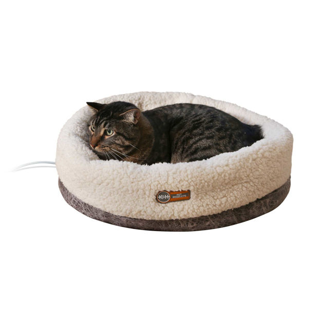 "Picture of K&H Pet Products Thermo-Snuggle Cup Pet Bed Bomber Gray 14"" x 18"" x 7"""