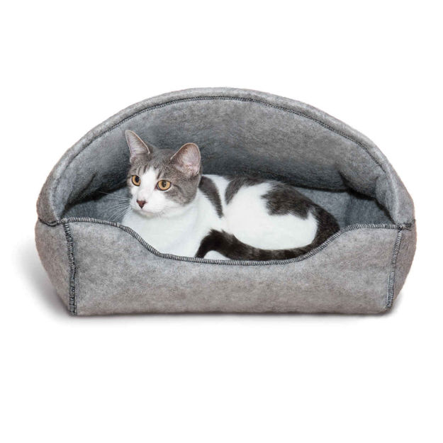 """Picture of K&H Pet Products Amazin' Kitty Lounger Hooded Bed Gray 13"""" x 17"""" x 11"""""""
