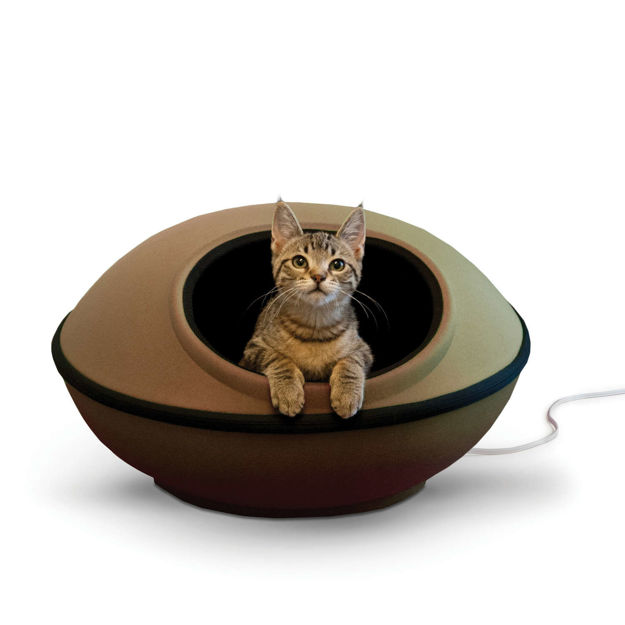 """Picture of K&H Pet Products Thermo-Mod Dream Pod Large Tan/Black 22"""" x 22"""" x 11.5"""""""