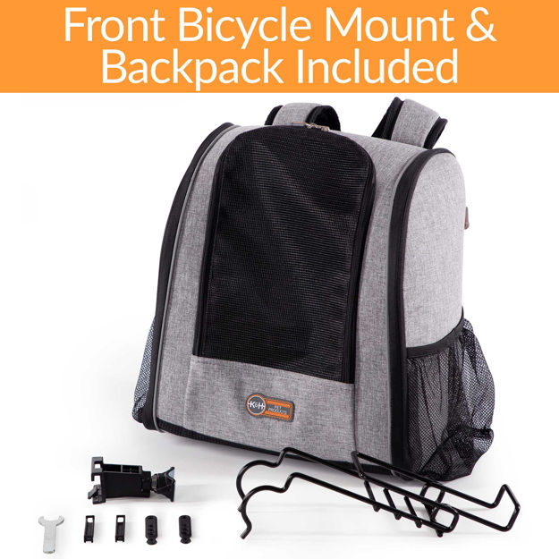 """Picture of K&H Pet Products Travel Bike Backpack for Pets Gray 9.5"""" x 14"""" x 15.75"""""""