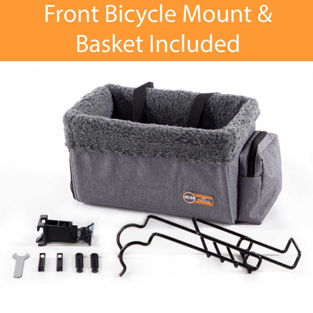 "Picture of K&H Pet Products Travel Bike Basket for Pets Small Gray 9"" x 12.5"" x 8"""