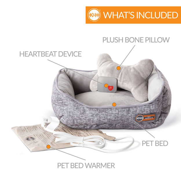 "K&H Pet Products Mother's Heartbeat Heated Puppy Pet Bed with Bone Pillow Large Gray 20""x 16"" x 7"""