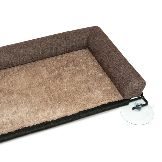 """Picture of K&H Pet Products EZ Mount Kitty Sill Deluxe with Bolster Brown 12"""" x 23"""" x 2.5"""""""