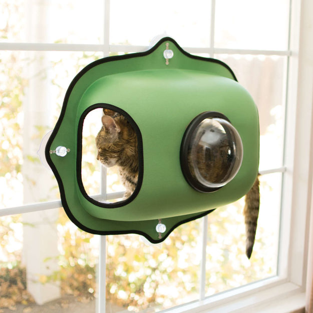 "Picture of K&H Pet Products EZ Mount Window Bubble Cat Pod Green 27"" x 20"" x 7.5"""