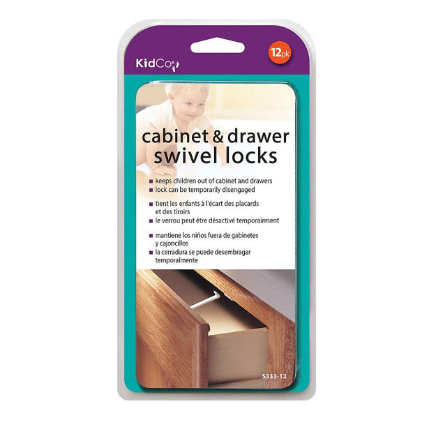 Picture of Kidco Swivel Cabinet and Drawer Locks 12 pack White