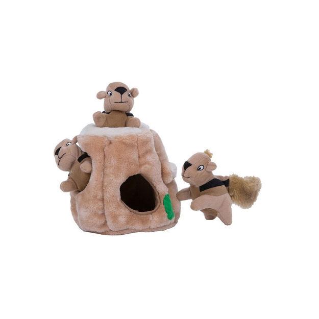 """Outward Hound Hide-A-Squirrel Dog Toy Medium Brown 6"""" x 6"""" x 7"""""""