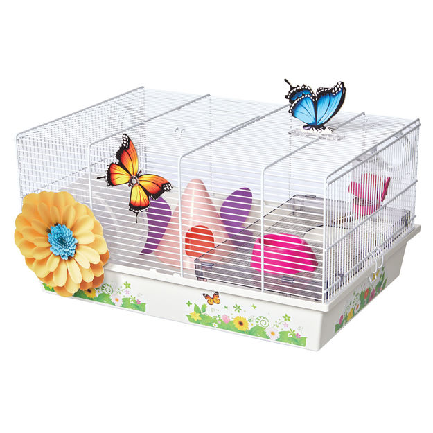 "Picture of Midwest Critterville Butterfly Hamster Home Clear, White 19.5"" x 13.8"" x 9.8"""