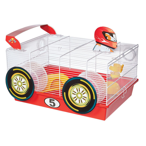 """Picture of Midwest Critterville Race Car Hamster Home White, Red 19.5"""" x 13.8"""" x 9.8"""""""
