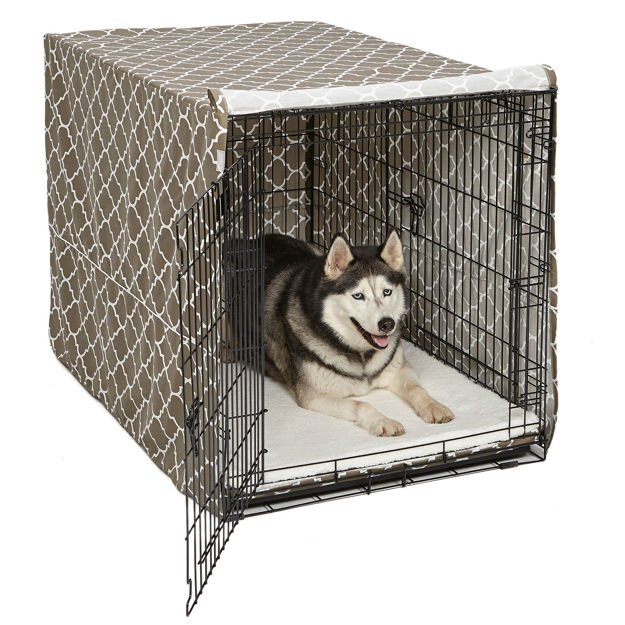 "Picture of Midwest QuietTime Defender Covella Dog Crate Cover Brown 42"" x 28"" x 30"""